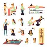 För Spa för skönhetsalong uppsättning folk stock illustrationer