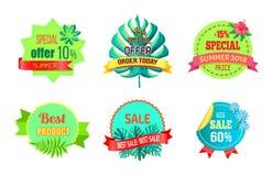 För specialt erbjudande för beställning Sale för sommar i dag Promo 2018 stock illustrationer