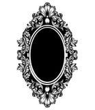 För spegelram för tappning lyxig vektor Barock invecklad prydnadlinje konster stock illustrationer