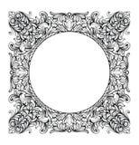 För spegelrunda för tappning imperialistisk barock ram Franska lyxiga rika invecklade prydnader för vektor Viktoriansk kunglig st Arkivbild