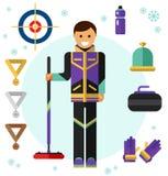 För sportlek för is krullande symboler royaltyfri illustrationer