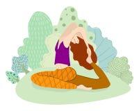 för sporttema för kobra utomhus- park skjuten yoga stock illustrationer