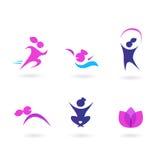 för sportwellness för blåa symboler rosa kvinnor Arkivfoton