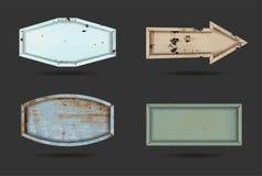 För stålmetall för vektor gammal platta för tecken vektor illustrationer