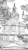 För St Andrew för konstverk svartvit dra illustratio för kyrka ` s vektor illustrationer
