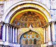 För St Mark för avlagringreliker mosaisk kyrka Venedig Italien ` s Royaltyfria Bilder
