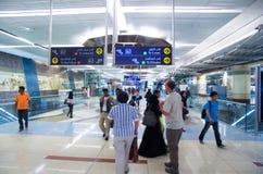 För stadområde för UAE Dubai Deira gammal station för gångtunnel för tunnelbana Arkivfoto