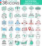 För stadsfärg för vektor modern linje översiktssymboler för lägenhet för apps och rengöringsdukdesign stads- stadselement Royaltyfria Bilder