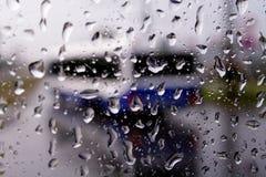 för stadslook för 2 buss fönster Royaltyfri Bild