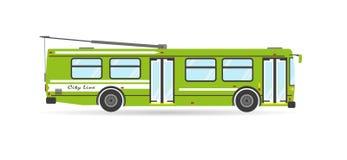 För stadstransport för vektor plant medel för kollektivtrafik för trådbuss för eco Royaltyfria Foton