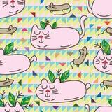 För stam- sömlös modell zenmus för katt Royaltyfri Fotografi