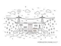 För stationsvektor för linjär hydro elektrisk illustration stock illustrationer