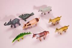 För statyettrosa färger för djur plast- bakgrund arkivfoto