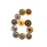 För steampunkkuggar för siffra numerisk sex mekanism för kugghjul Texturerat tal 6 för yttersida för järnbrons metalliskt Åldriga Fotografering för Bildbyråer