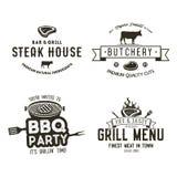 För stekhuslogo för tappning hand dragen uppsättning, bbq-parti, grillfestgalleremblem, etiketter Retro typografistil Slaktarelog Arkivbild