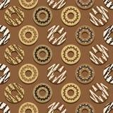 För stilchoklad för sömlös modell olik bakgrund för Donuts stock illustrationer