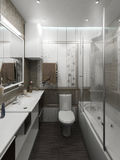 För stilinre för badrummet framför den minimalist designen, 3D Royaltyfri Foto