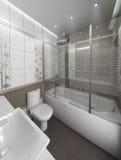 För stilinre för badrummet framför den minimalist designen, 3D Fotografering för Bildbyråer