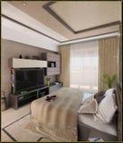För stilinre för sovrummet framför den moderna designen, 3D Royaltyfria Foton