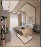 För stilinre för sovrummet framför den moderna designen, 3D Royaltyfri Fotografi