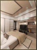 För stilinre för sovrummet framför den moderna designen, 3D Arkivfoto