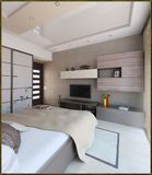 För stilinre för sovrummet framför den moderna designen, 3D Arkivbilder