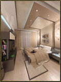 För stilinre för sovrummet framför den moderna designen, 3D Royaltyfria Bilder