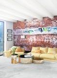 För stilinre för vitt sovrum minsta design med den wood väggen och grå färgsoffan framförande 3d illustration 3d Royaltyfria Foton