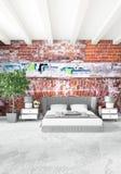 För stilinre för vitt sovrum minsta design med den wood väggen och grå färgsoffan framförande 3d illustration 3d royaltyfri illustrationer