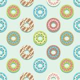 För stiljordgubbe för sömlös modell olik bakgrund för Donuts stock illustrationer