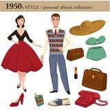för för stilman och kvinna för 1950 mode personliga objekt stock illustrationer