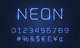 För stilsortsalfabet för neon ljusa nummer, speciala symboler Glöder blåa neonrör för vektor alfabetstilsorten med hashtagtecknet royaltyfri illustrationer