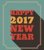 För stiltext för lyckligt nytt år 2017 Retro design Royaltyfria Bilder