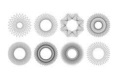 för stilvektorn för 8 mandala uppsättningen gjorde med upprepning av former royaltyfri illustrationer