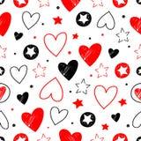 För stjärna- och hjärtavektor för hand utdragen textur royaltyfri illustrationer