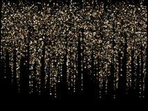 För stjärnadamm för tappning guld- bakgrund för girland för vektor för gnistrande Blänka stardustkonfettier som skiner mousserar  vektor illustrationer