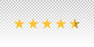 För stjärnavärdering för vektor som gul stång isoleras på genomskinlig bakgrund Beståndsdel för design din website eller app Royaltyfri Bild