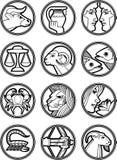 för stjärnavektor för 2 tecken zodiac royaltyfri illustrationer