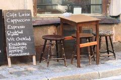 för stockholm för cafe gammal town gata Arkivbild