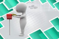för stolpeask för man 3d illustration Arkivfoton
