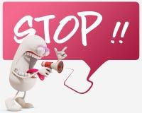 ` för stopp för ` för tecken för tecknad film 3d skrikig, Fotografering för Bildbyråer