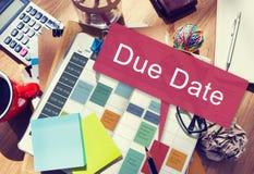 För stopptidtidsbeställning för förfallet datum begrepp för händelse arkivbilder