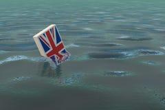` För Storbritannien `-drunkning tack vare Brexiten Arkivfoton