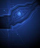 För strömkretsteknologi för blått öga bakgrund Royaltyfri Bild