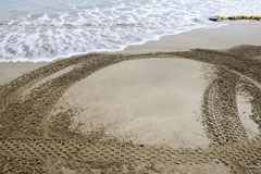 för strandbil för bakgrund 4wd spår för sand Fotografering för Bildbyråer