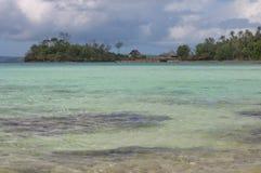För strandhav för tropiskt paradis Polynesian hav Crystal Water Clear Sand Arkivfoto
