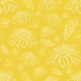 För strandsemesterort för vektor gul tropisk modell för blommor för repetition Passande för gåvasjal, textil och tapet vektor illustrationer