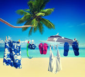 För strandsommar för klädstreck tropiskt begrepp för semester Royaltyfri Foto