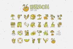 För strandsymbol för sommar tropisk samling Räcka attraktionsymboler om lopp till vändkretsstranden och ha semestern Sommar och s Royaltyfri Fotografi