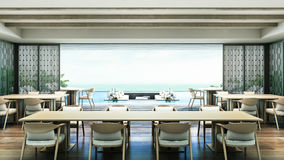 för strandvilla för tolkning 3D Dinning rum Royaltyfria Bilder
